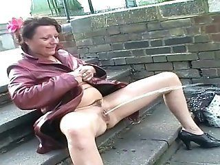 Outdoor hairy whore masturbate penis right! good thought