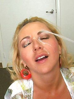Blonde asian lick dick load cumm on face