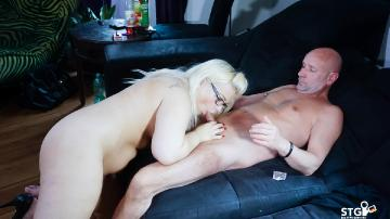 Tight Blonde Rides and Swallows Thick Cock.