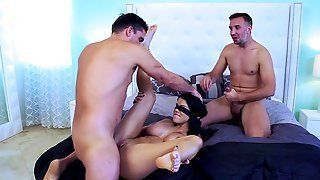 Blindfolded surprise threesome